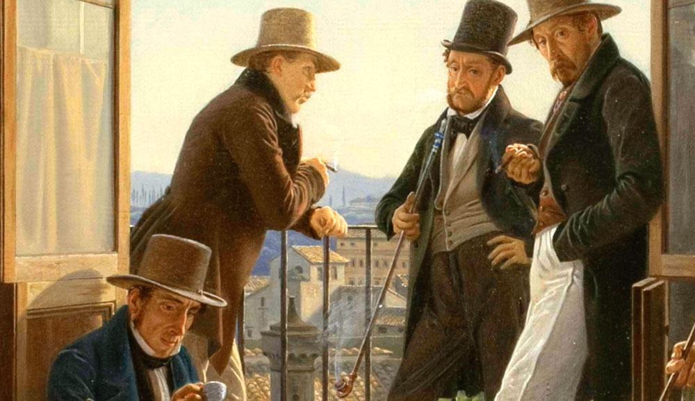Et selskab af danske kunstnere i Rom. (1837)